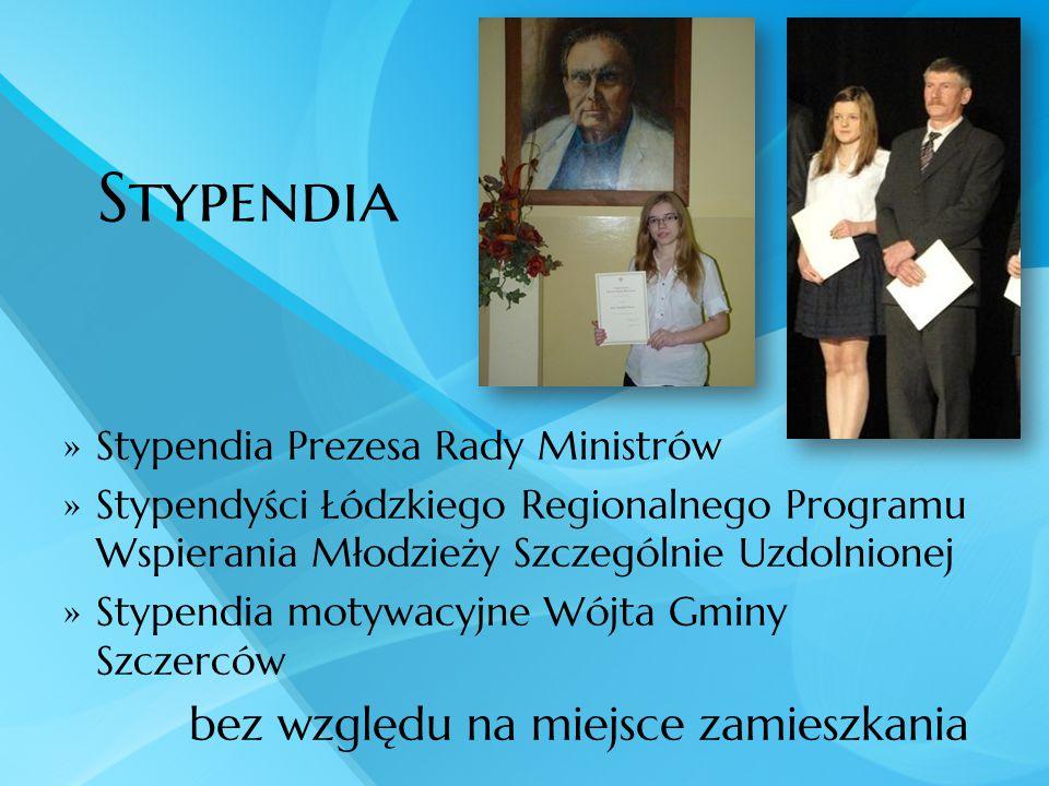 Stypendia  Stypendia Prezesa Rady Ministrów  Stypendyści Łódzkiego Regionalnego Programu Wspierania Młodzieży Szczególnie Uzdolnionej  Stypendia mo