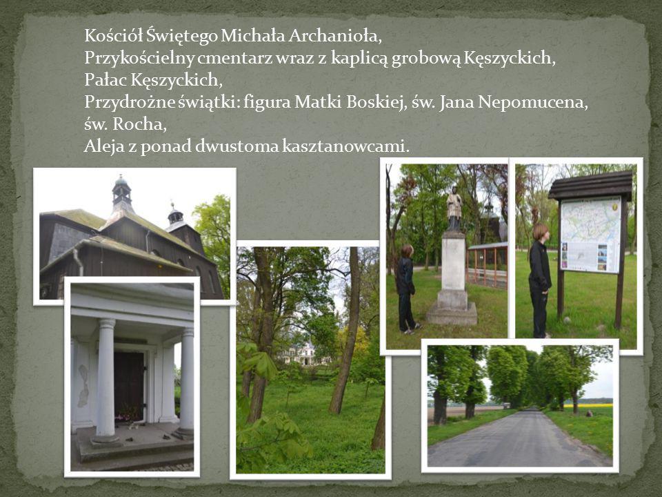 Kościół Świętego Michała Archanioła, Przykościelny cmentarz wraz z kaplicą grobową Kęszyckich, Pałac Kęszyckich, Przydrożne świątki: figura Matki Bosk