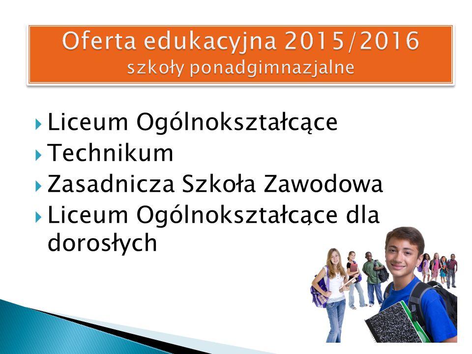  Liceum Ogólnokształcące  Technikum  Zasadnicza Szkoła Zawodowa  Liceum Ogólnokształcące dla dorosłych