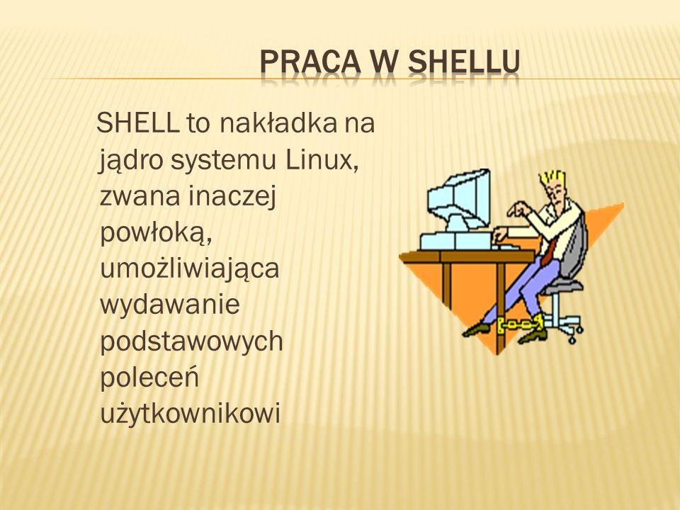 SHELL to nakładka na jądro systemu Linux, zwana inaczej powłoką, umożliwiająca wydawanie podstawowych poleceń użytkownikowi