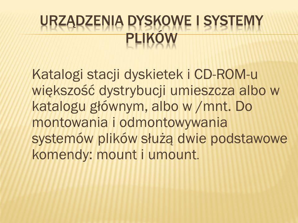 Katalogi stacji dyskietek i CD-ROM-u większość dystrybucji umieszcza albo w katalogu głównym, albo w /mnt.