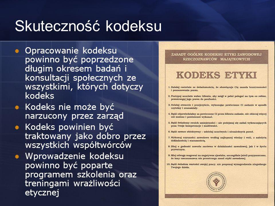 Skuteczność kodeksu Opracowanie kodeksu powinno być poprzedzone długim okresem badań i konsultacji społecznych ze wszystkimi, których dotyczy kodeks Kodeks nie może być narzucony przez zarząd Kodeks powinien być traktowany jako dobro przez wszystkich współtwórców Wprowadzenie kodeksu powinno być poparte programem szkolenia oraz treningami wrażliwości etycznej