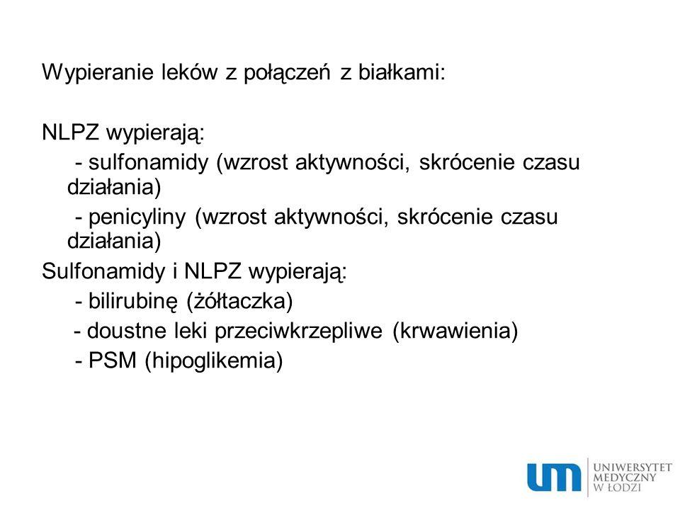 Wypieranie leków z połączeń z białkami: NLPZ wypierają: - sulfonamidy (wzrost aktywności, skrócenie czasu działania) - penicyliny (wzrost aktywności, skrócenie czasu działania) Sulfonamidy i NLPZ wypierają: - bilirubinę (żółtaczka) - doustne leki przeciwkrzepliwe (krwawienia) - PSM (hipoglikemia)