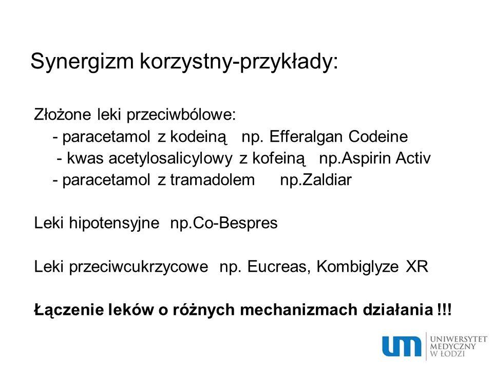 Synergizm korzystny-przykłady: Złożone leki przeciwbólowe: - paracetamol z kodeiną np. Efferalgan Codeine - kwas acetylosalicylowy z kofeiną np.Aspiri