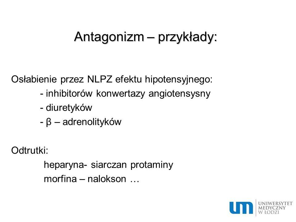 Antagonizm – przykłady: Osłabienie przez NLPZ efektu hipotensyjnego: - inhibitorów konwertazy angiotensysny - diuretyków - β – adrenolityków Odtrutki: