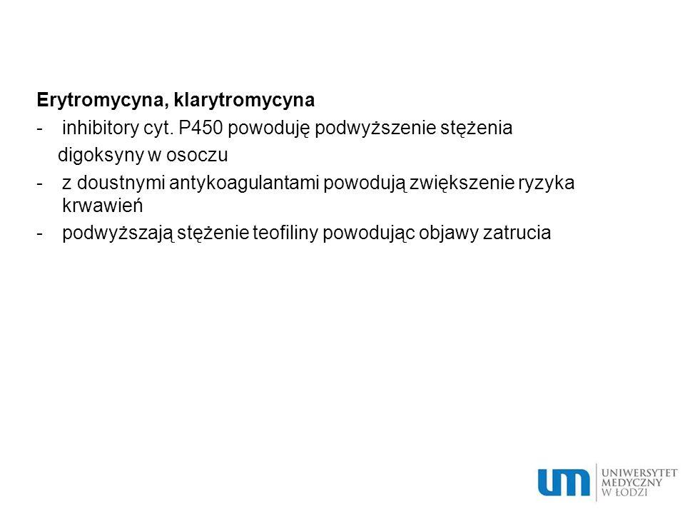 Erytromycyna, klarytromycyna -inhibitory cyt.