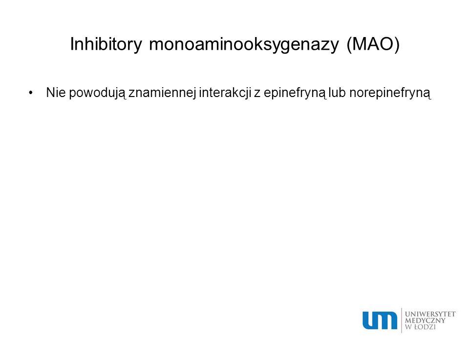 Inhibitory monoaminooksygenazy (MAO) Nie powodują znamiennej interakcji z epinefryną lub norepinefryną