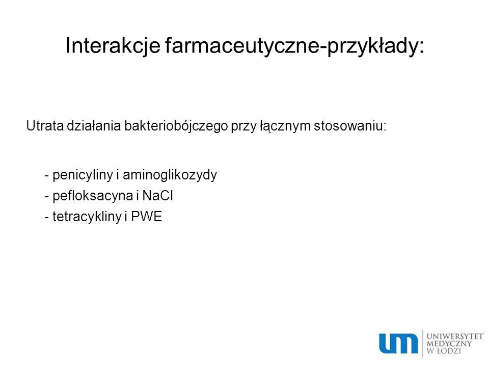 Interakcje farmaceutyczne-przykłady: Utrata działania bakteriobójczego przy łącznym stosowaniu:  - penicyliny i aminoglikozydy  - pefloksacyna i NaCl  - tetracykliny i PWE