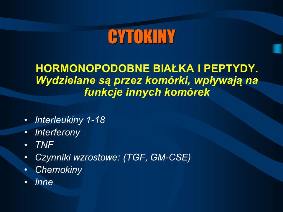 CYTOKINY HORMONOPODOBNE BIAŁKA I PEPTYDY. Wydzielane są przez komórki, wpływają na funkcje innych komórek Interleukiny 1-18 Interferony TNF Czynniki w