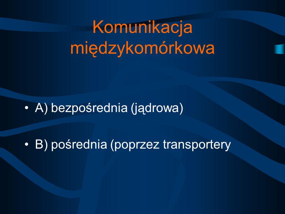 Komunikacja międzykomórkowa A) bezpośrednia (jądrowa) B) pośrednia (poprzez transportery