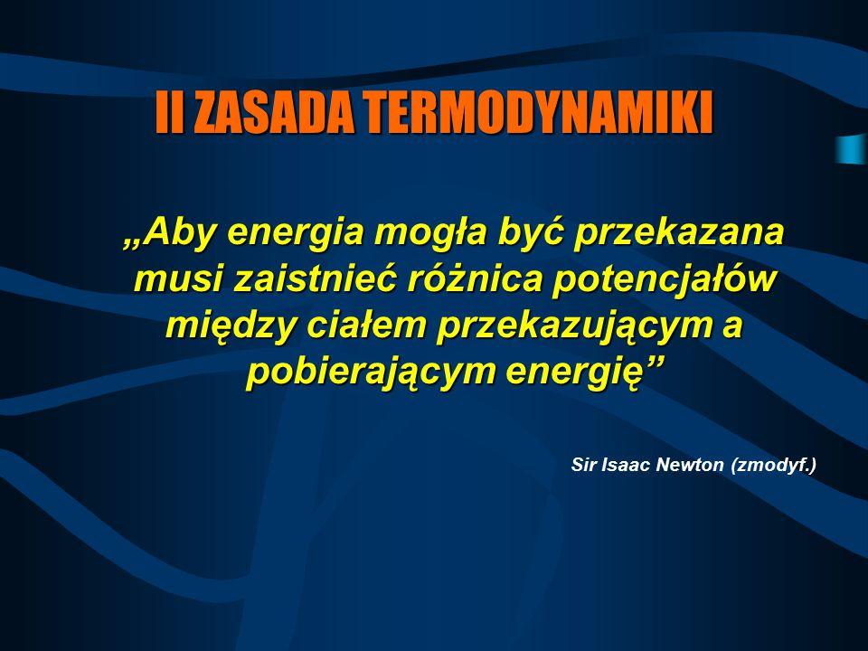 """II ZASADA TERMODYNAMIKI """"Aby energia mogła być przekazana musi zaistnieć różnica potencjałów między ciałem przekazującym a pobierającym energię"""" Sir I"""