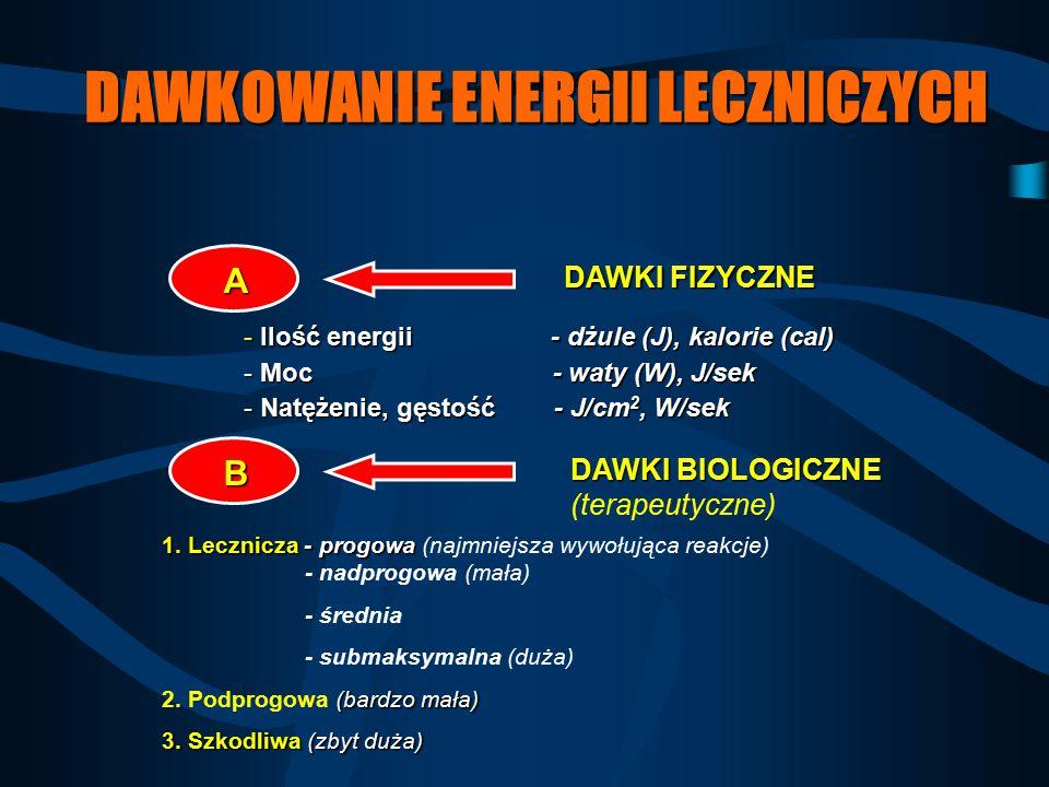 DAWKOWANIE ENERGII LECZNICZYCH DAWKI FIZYCZNE DAWKI BIOLOGICZNE DAWKI BIOLOGICZNE (terapeutyczne) - Ilość energii - dżule (J), kalorie (cal) - Moc - w