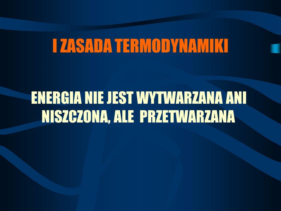 I ZASADA TERMODYNAMIKI ENERGIA NIE JEST WYTWARZANA ANI NISZCZONA, ALE PRZETWARZANA