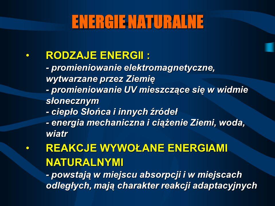 ENERGIE NATURALNE RODZAJE ENERGII : - promieniowanie elektromagnetyczne, wytwarzane przez Ziemię - promieniowanie UV mieszczące się w widmie słoneczny