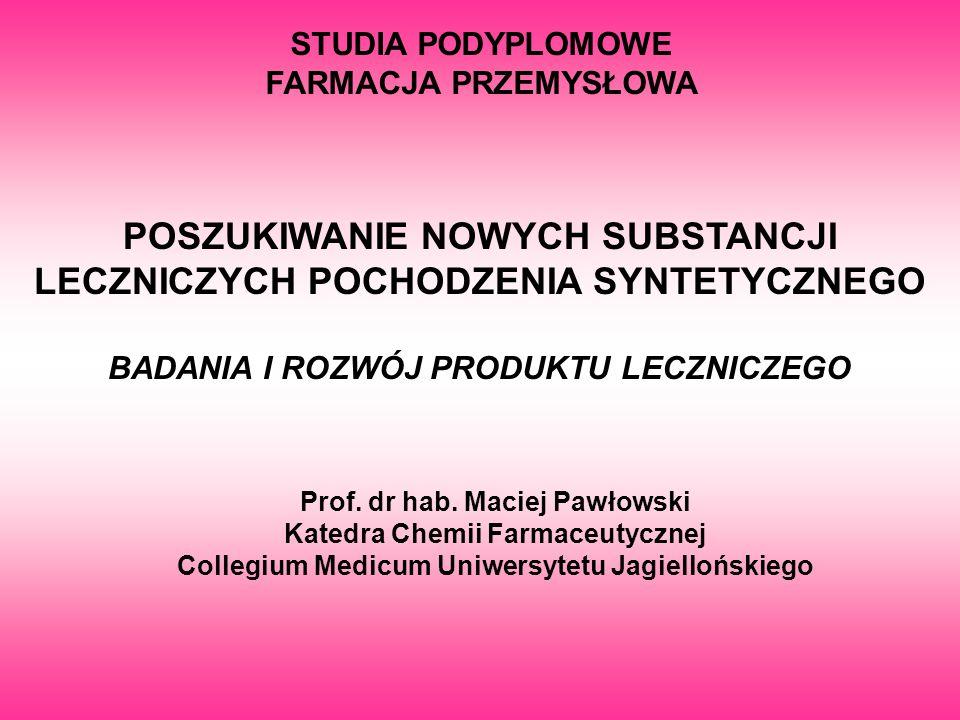 POSZUKIWANIE NOWYCH SUBSTANCJI LECZNICZYCH POCHODZENIA SYNTETYCZNEGO BADANIA I ROZWÓJ PRODUKTU LECZNICZEGO Prof. dr hab. Maciej Pawłowski Katedra Chem