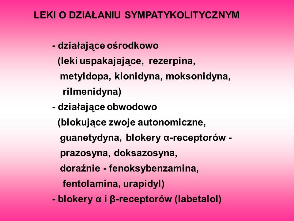 LEKI O DZIAŁANIU SYMPATYKOLITYCZNYM - działające ośrodkowo (leki uspakajające, rezerpina, metyldopa, klonidyna, moksonidyna, rilmenidyna) - działające
