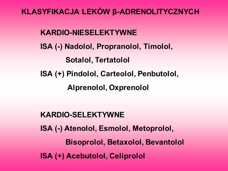 KLASYFIKACJA LEKÓW β-ADRENOLITYCZNYCH KARDIO-NIESELEKTYWNE ISA (-) Nadolol, Propranolol, Timolol, Sotalol, Tertatolol ISA (+) Pindolol, Carteolol, Pen