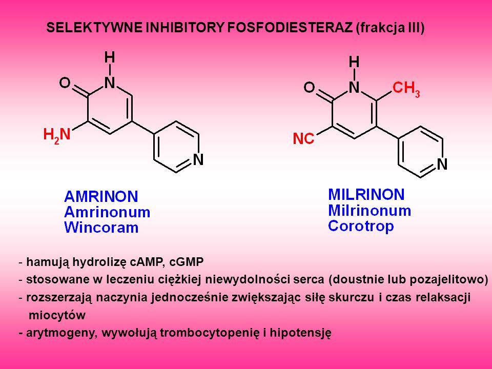 SELEKTYWNE INHIBITORY FOSFODIESTERAZ (frakcja III) - hamują hydrolizę cAMP, cGMP - stosowane w leczeniu ciężkiej niewydolności serca (doustnie lub poz