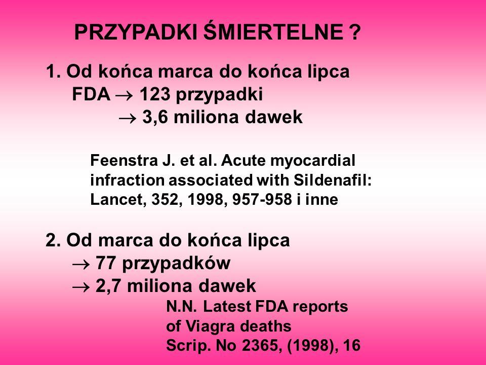 PRZYPADKI ŚMIERTELNE ? 1. Od końca marca do końca lipca FDA  123 przypadki  3,6 miliona dawek Feenstra J. et al. Acute myocardial infraction associ