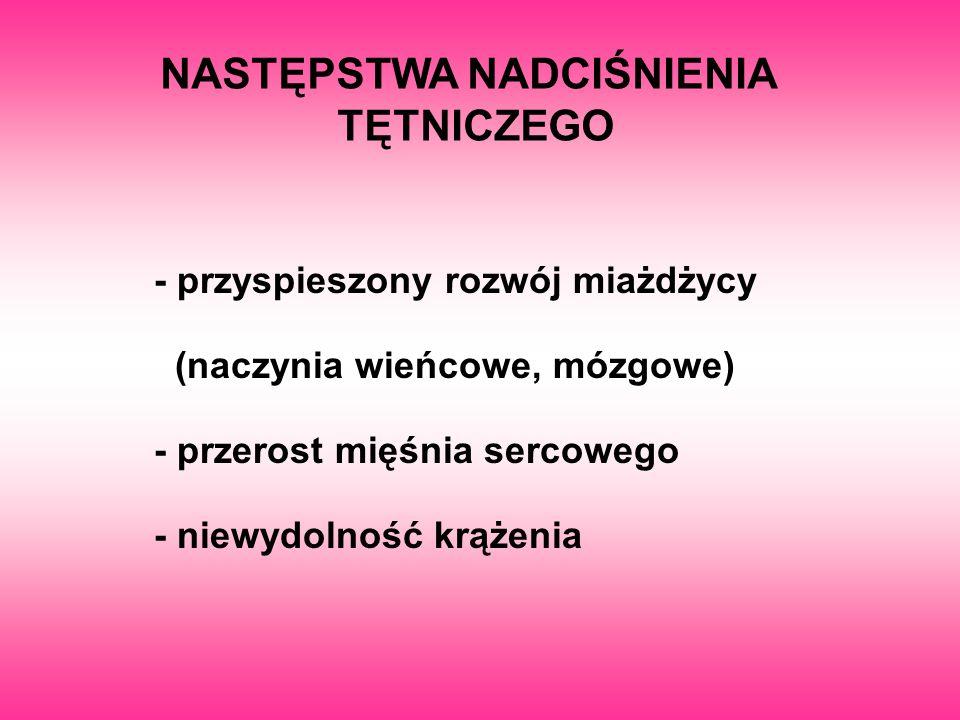 NASTĘPSTWA NADCIŚNIENIA TĘTNICZEGO - przyspieszony rozwój miażdżycy (naczynia wieńcowe, mózgowe) - przerost mięśnia sercowego - niewydolność krążenia