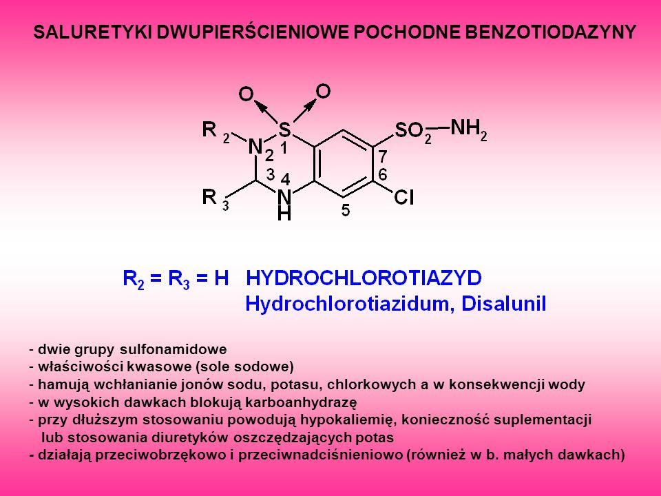SALURETYKI DWUPIERŚCIENIOWE POCHODNE BENZOTIODAZYNY - dwie grupy sulfonamidowe - właściwości kwasowe (sole sodowe) - hamują wchłanianie jonów sodu, po