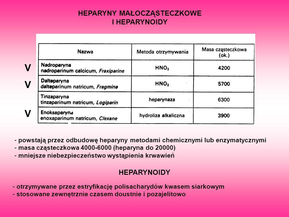 V V V HEPARYNY MAŁOCZĄSTECZKOWE I HEPARYNOIDY - powstają przez odbudowę heparyny metodami chemicznymi lub enzymatycznymi - masa cząsteczkowa 4000-6000