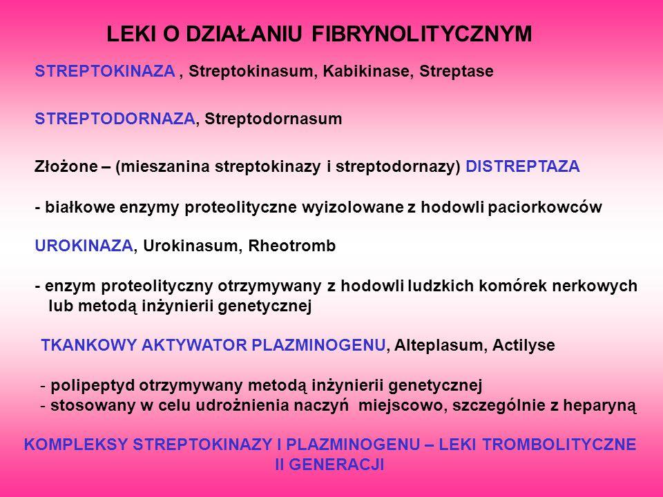LEKI O DZIAŁANIU FIBRYNOLITYCZNYM STREPTOKINAZA, Streptokinasum, Kabikinase, Streptase STREPTODORNAZA, Streptodornasum Złożone – (mieszanina streptoki