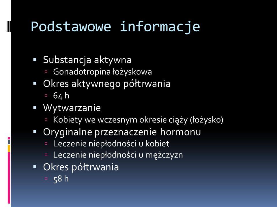 Podstawowe informacje  Substancja aktywna  Gonadotropina łożyskowa  Okres aktywnego półtrwania  64 h  Wytwarzanie  Kobiety we wczesnym okresie c