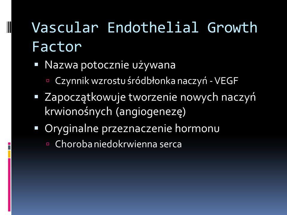 Vascular Endothelial Growth Factor  Nazwa potocznie używana  Czynnik wzrostu śródbłonka naczyń - VEGF  Zapoczątkowuje tworzenie nowych naczyń krwio