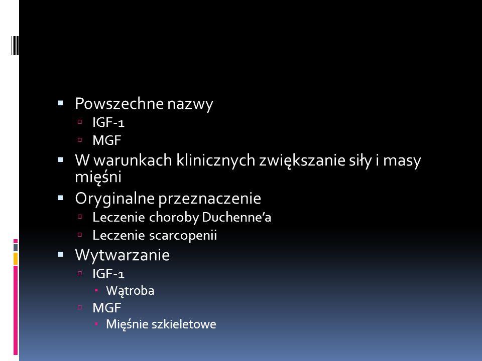  Powszechne nazwy  IGF-1  MGF  W warunkach klinicznych zwiększanie siły i masy mięśni  Oryginalne przeznaczenie  Leczenie choroby Duchenne'a  L