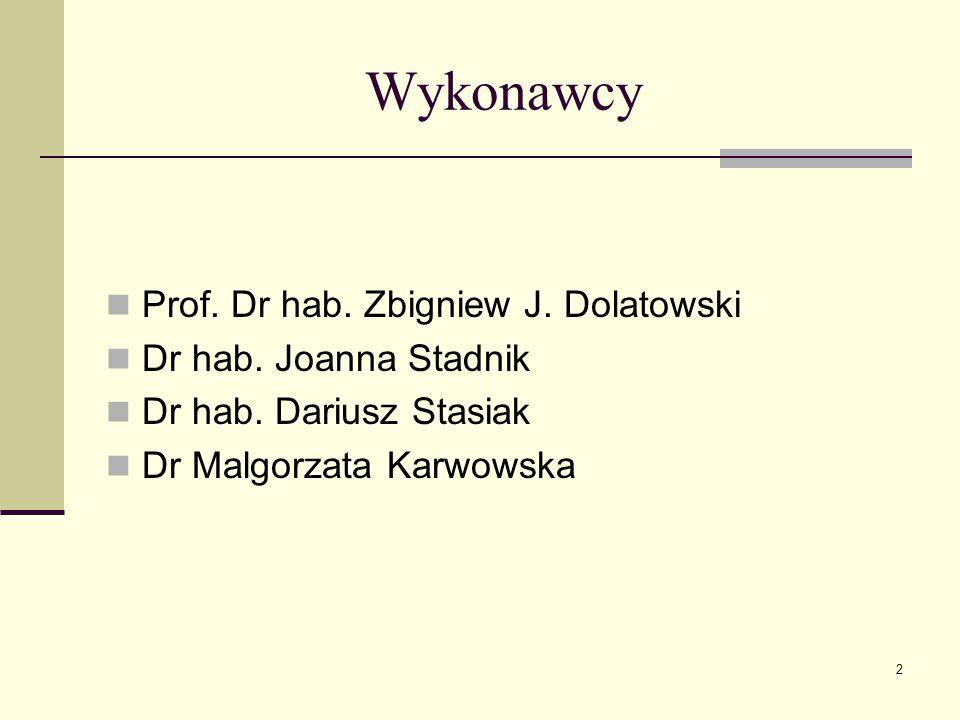 Wykonawcy Prof. Dr hab. Zbigniew J. Dolatowski Dr hab. Joanna Stadnik Dr hab. Dariusz Stasiak Dr Malgorzata Karwowska 2