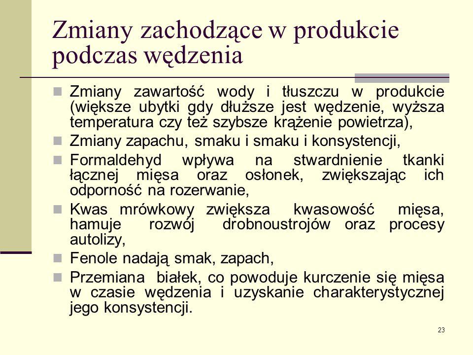 Zmiany zachodzące w produkcie podczas wędzenia Zmiany zawartość wody i tłuszczu w produkcie (większe ubytki gdy dłuższe jest wędzenie, wyższa temperat