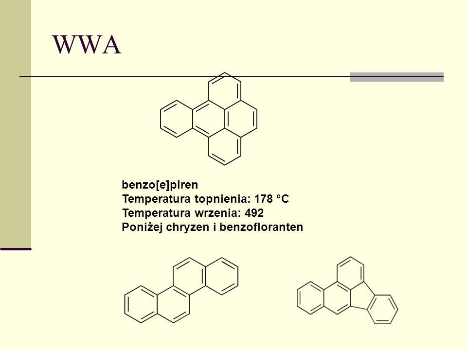 WWA benzo[e]piren Temperatura topnienia: 178 °C Temperatura wrzenia: 492 Poniżej chryzen i benzofloranten