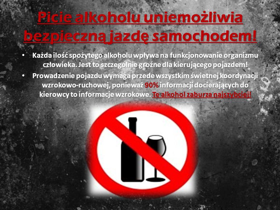 Wpływ alkoholu na kierowc ę Alkohol- pogarsza koordynacje ruchów - trudności w wykonywaniu dwóch i więcej czynności jednocześnie, Alkohol- pogarsza ko