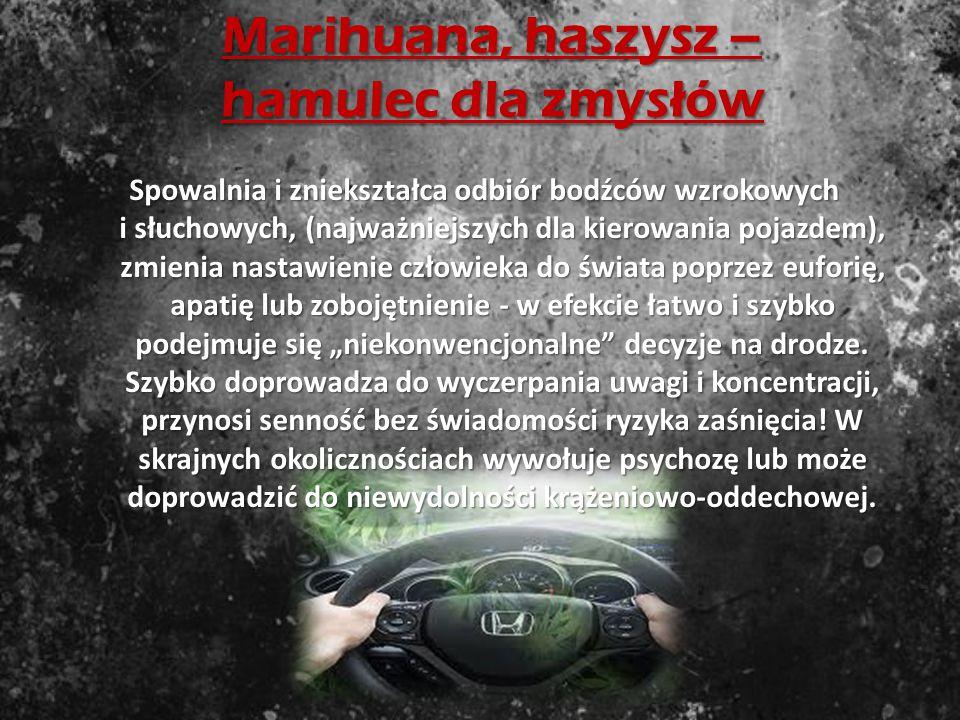 """Amfetamina - jazda bez znaków drogowych Pobudza, daje pozorne poczucie poprawy koncentracji uwagi, """"wyostrzenia zmysłów"""", przez co zwiększa pewność si"""