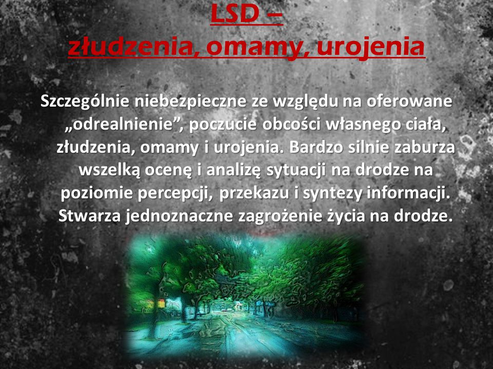 MDMA (ecstasy) – oszukana samoocena Na kierowcę zadziała podobnie jak amfetamina. Daje poczucie sprawności nawet u osób skrajnie już wyczerpanych (czę