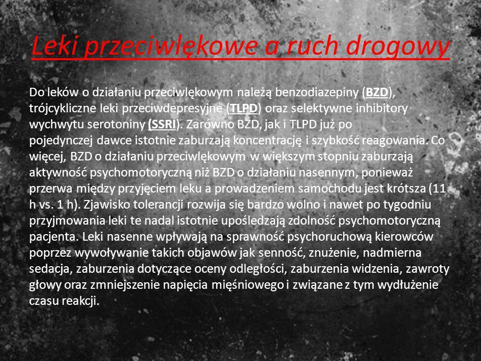 Leki przeciwlękowe Grupa leków psychotropowych o zróżnicowanej budowie chemicznej, które przez działanie polegające na przekazaniu impulsów nerwowych