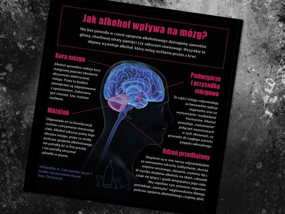 Wpływ Alkoholu na układ nerwowy człowieka Alkohol działa szkodliwie na układ nerwowy, przy czym w pierwszej kolejności atakuje najbardziej wrażliwe, n