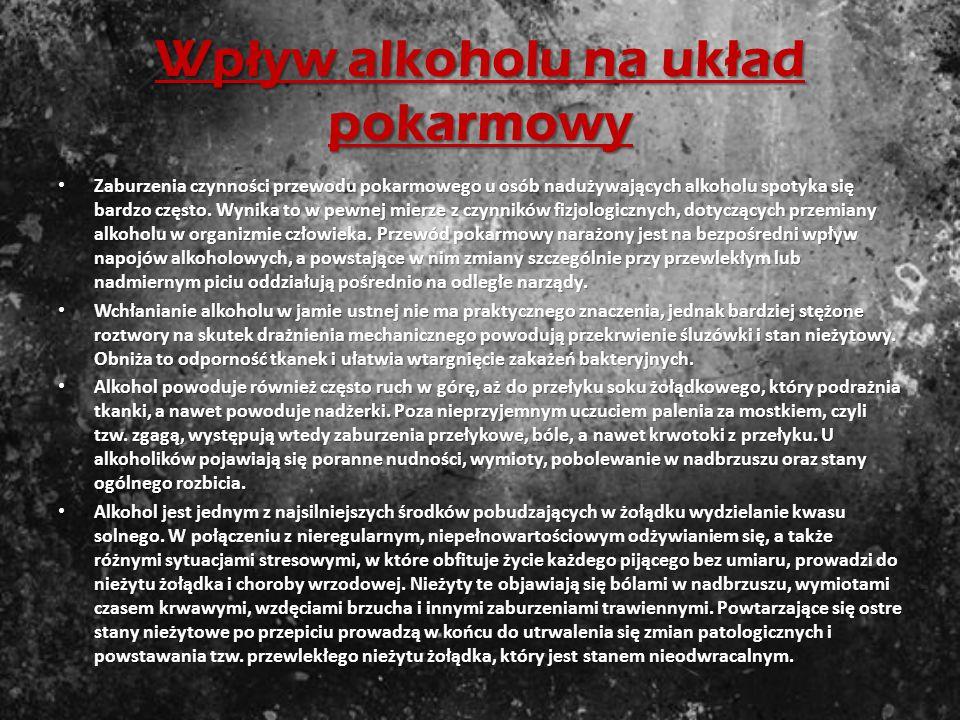 Wpływ alkoholu na układ kr ąż enia Alkohol i produkty jego przemiany wywierają niekorzystny wpływ na układ krążenia. Zaburzenia akcji serca, gwałtowne