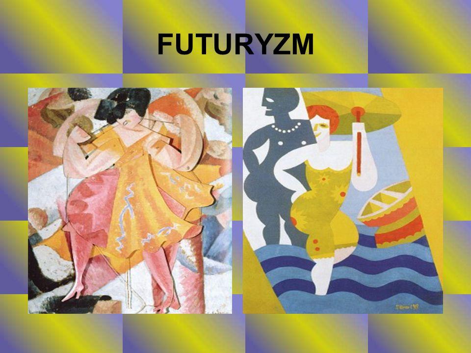 NAZWA KIERUNKU Termin futuryzm pochodzący od łacińskiego futurus - przyszły , miał wskazywać, że uczestnicy tego ruchu kierują myśli ku przyszłości, odrzucając wszelkie relikty przeszłości, jako balast hamujący rozwój.