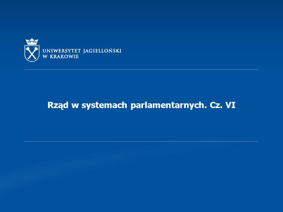 Rząd w systemach parlamentarnych. Cz. VI