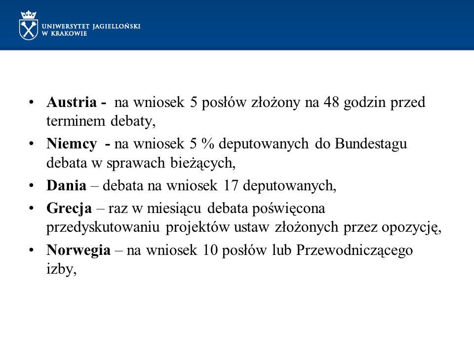 Austria - na wniosek 5 posłów złożony na 48 godzin przed terminem debaty, Niemcy - na wniosek 5 % deputowanych do Bundestagu debata w sprawach bieżący