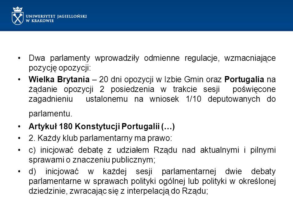 Dwa parlamenty wprowadziły odmienne regulacje, wzmacniające pozycję opozycji: Wielka Brytania – 20 dni opozycji w Izbie Gmin oraz Portugalia na żądani