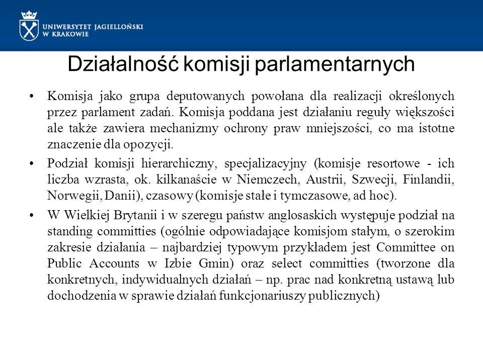 Działalność komisji parlamentarnych Komisja jako grupa deputowanych powołana dla realizacji określonych przez parlament zadań. Komisja poddana jest dz