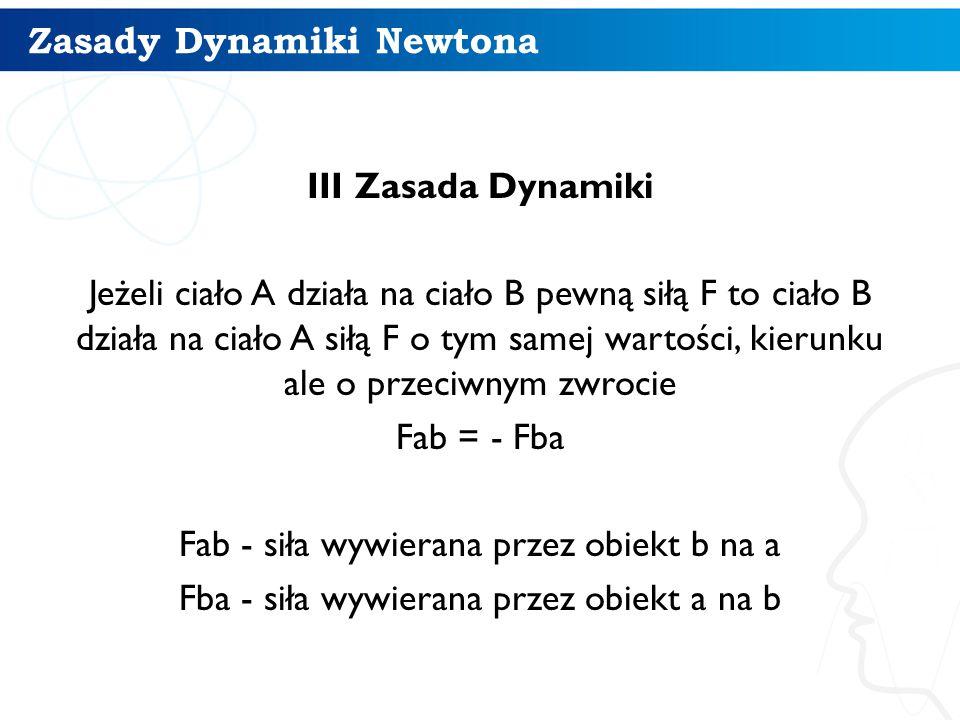 Zasady Dynamiki Newtona III Zasada Dynamiki Jeżeli ciało A działa na ciało B pewną siłą F to ciało B działa na ciało A siłą F o tym samej wartości, ki