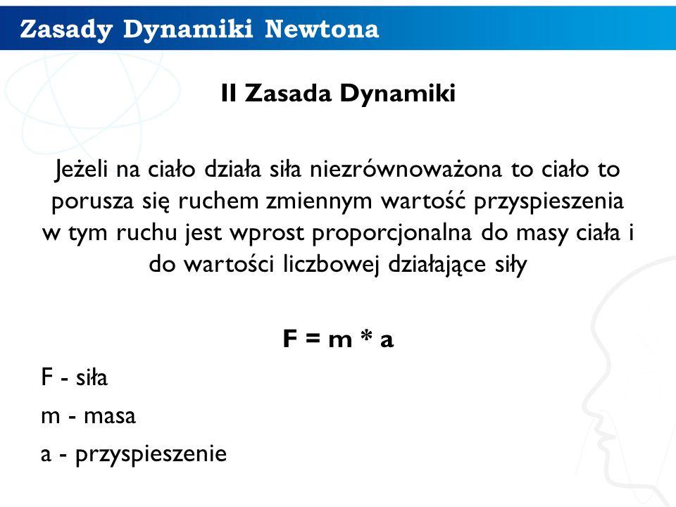Zasady Dynamiki Newtona II Zasada - przykład Są dwa ciała (np: ołówek i książka) Jak na te 2 ciała zadziałamy taką samą siła to ich przyśpieszenie będzie odwrotne od ich mas, czyli ołówek będzie miał wiekęsz przyśpieszenie bo jest lżejszy od książki.