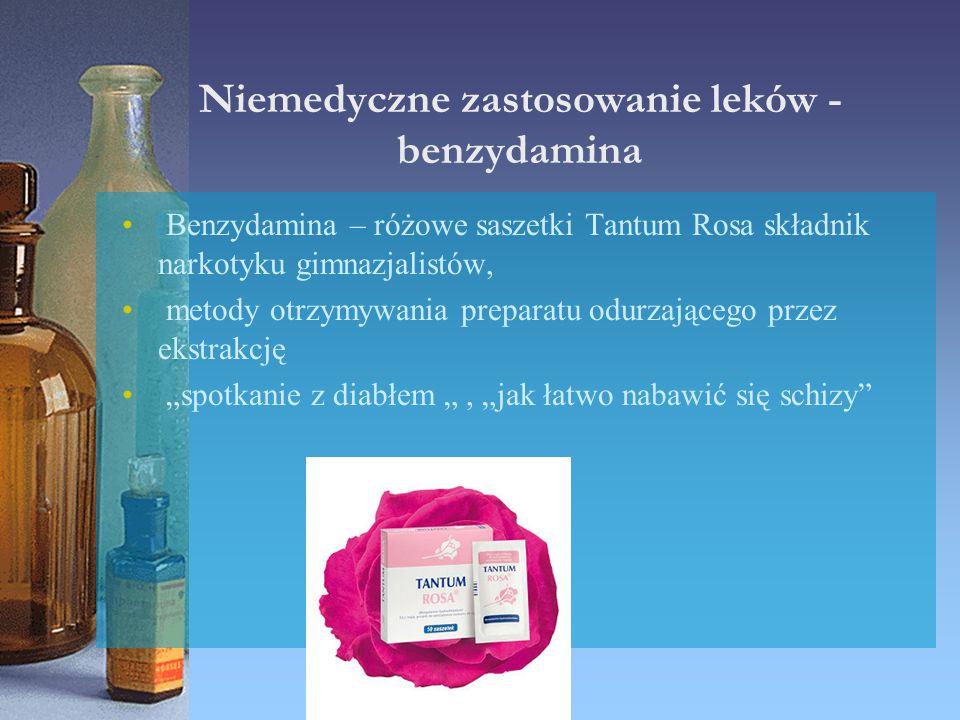 Niemedyczne zastosowanie leków - benzydamina Benzydamina – różowe saszetki Tantum Rosa składnik narkotyku gimnazjalistów, metody otrzymywania preparat
