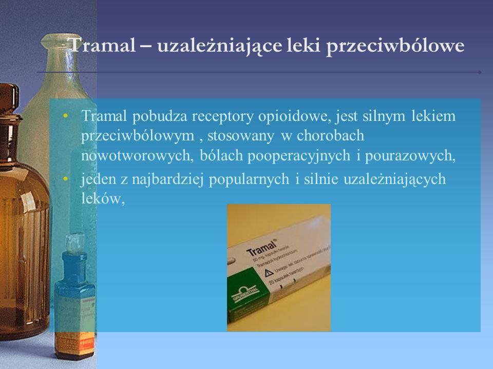 Tramal – uzależniające leki przeciwbólowe Tramal pobudza receptory opioidowe, jest silnym lekiem przeciwbólowym, stosowany w chorobach nowotworowych,