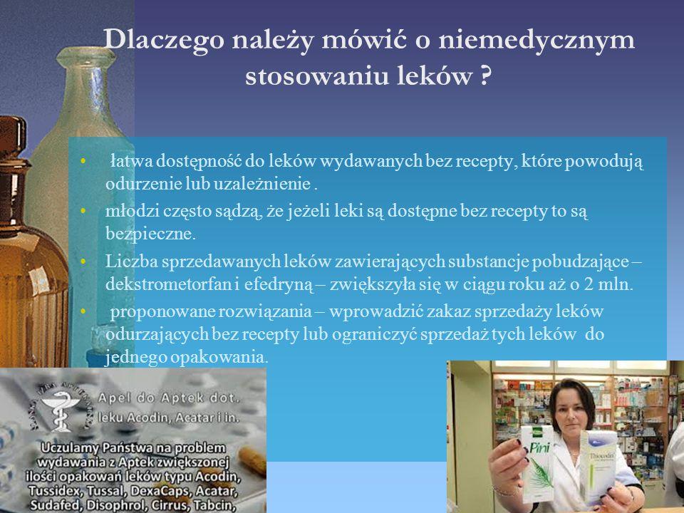 Dlaczego należy mówić o niemedycznym stosowaniu leków ? łatwa dostępność do leków wydawanych bez recepty, które powodują odurzenie lub uzależnienie. m