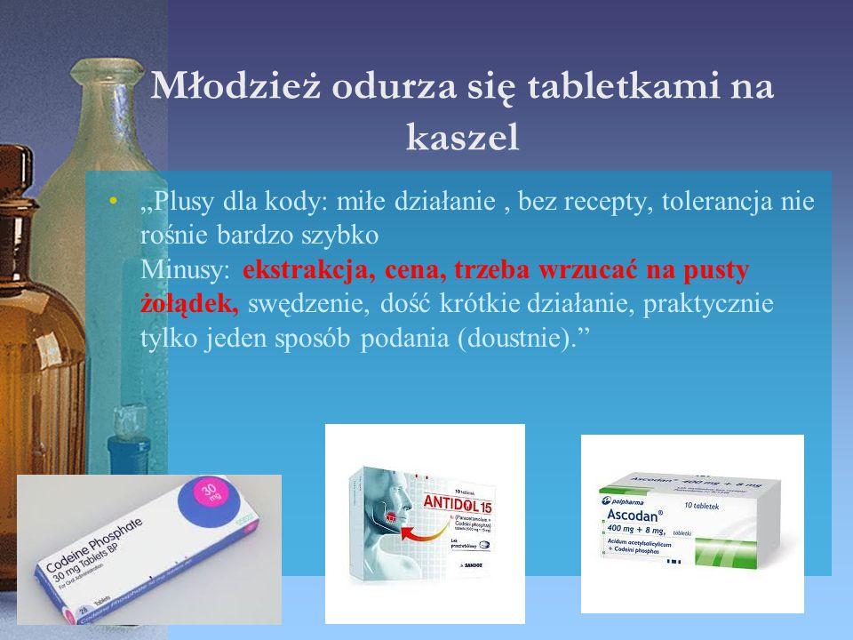 """Młodzież odurza się tabletkami na kaszel """"Plusy dla kody: miłe działanie, bez recepty, tolerancja nie rośnie bardzo szybko Minusy: ekstrakcja, cena, t"""